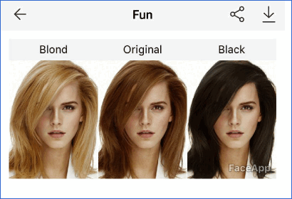 Другой цвет волос FaceApp
