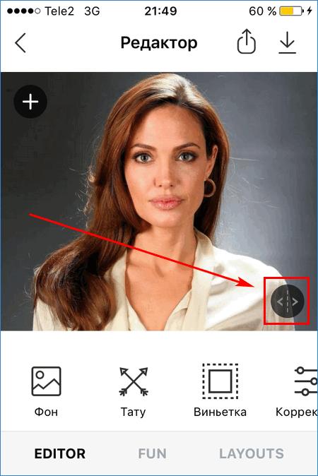 Кнопка возврата к оригиналу FaceApp Pro